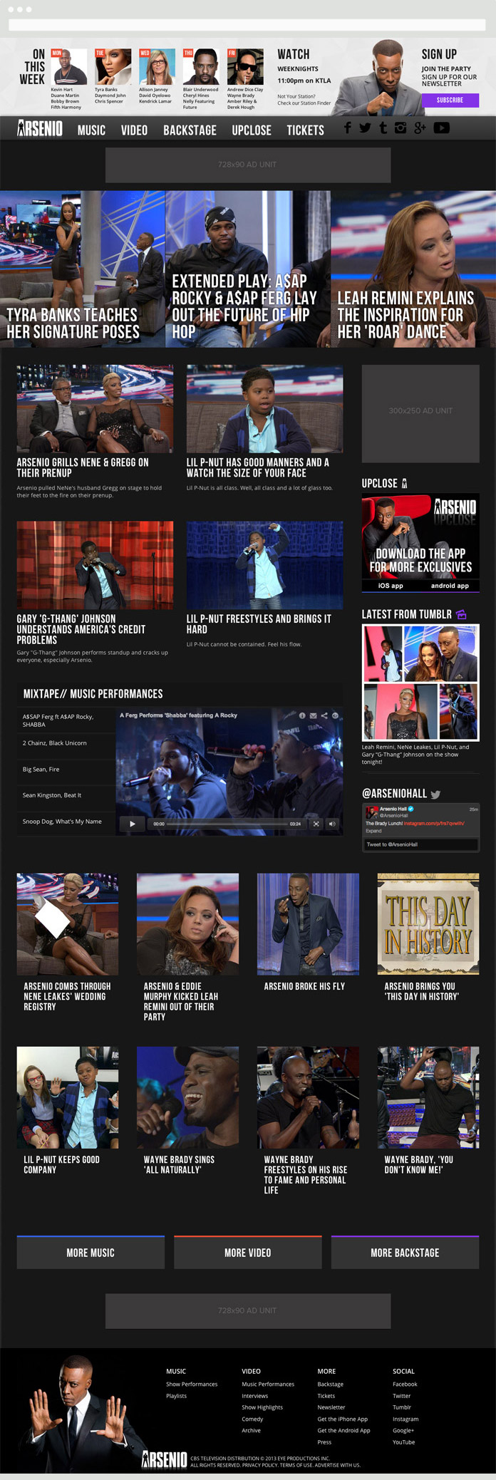 Image of the Arsenio Hall Homepage