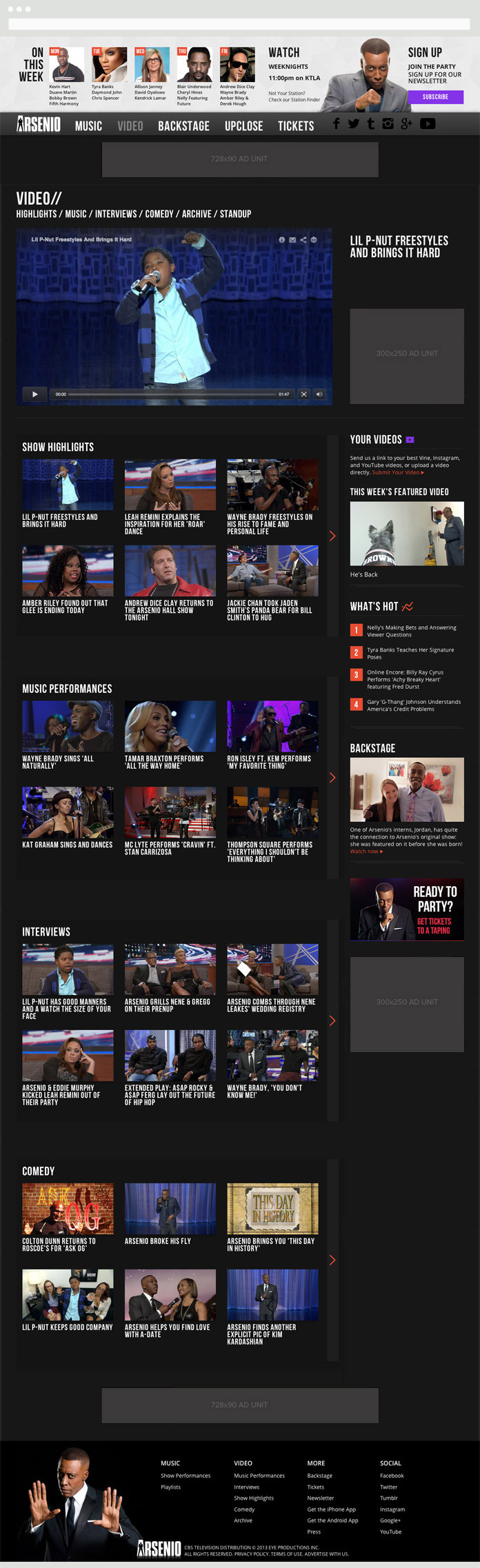 Image of the Arsenio Hall Video Page