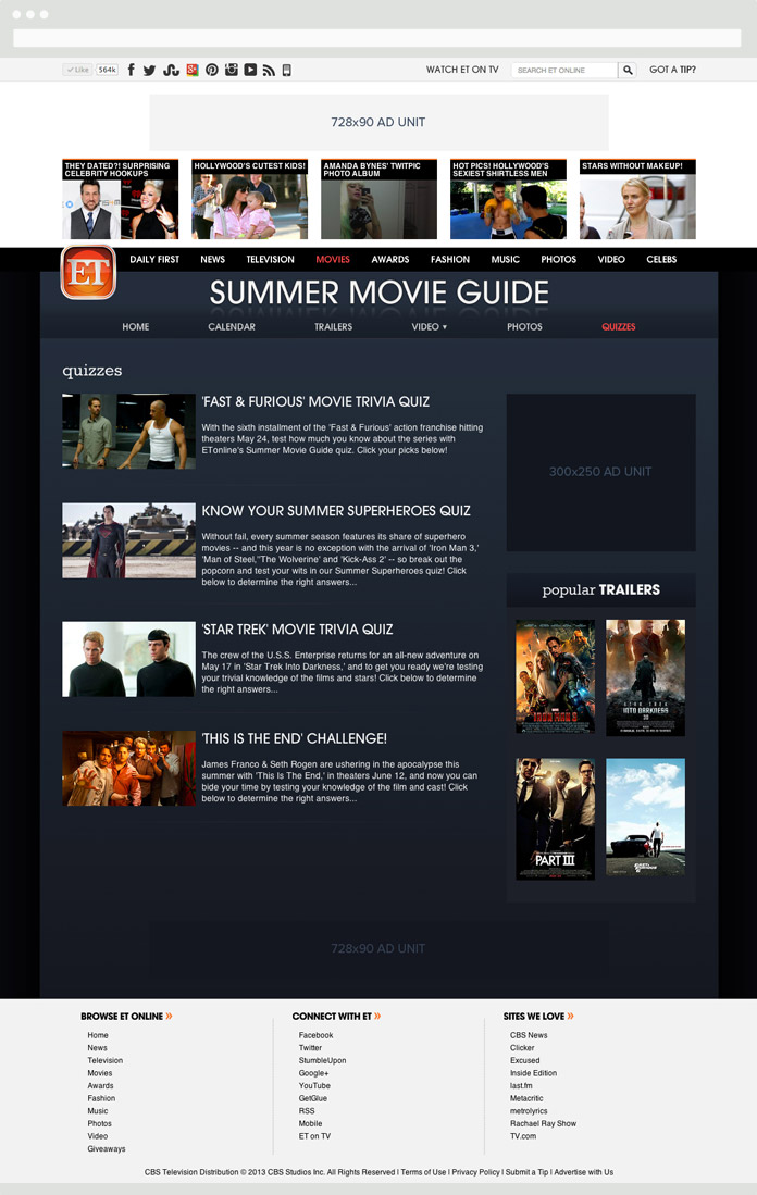 Image of the ET Summer Movie Guide Quizzes Page