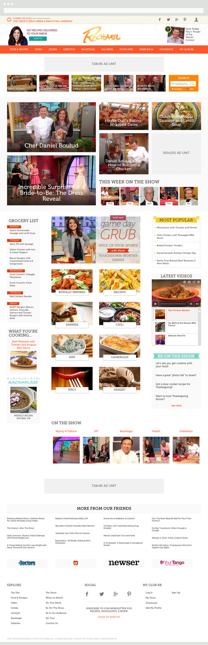 Image of the Rachael Ray Show Homepage