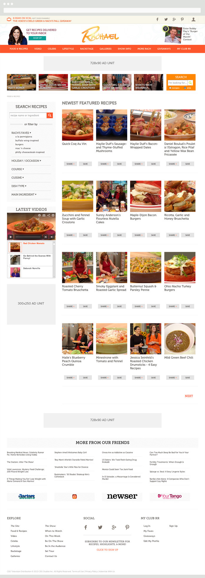 Image of the Rachael Ray Show Food Page
