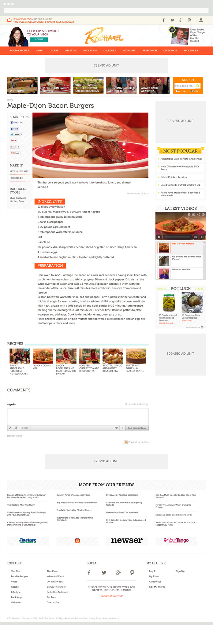 Image of a Rachael Ray Show Recipe Page