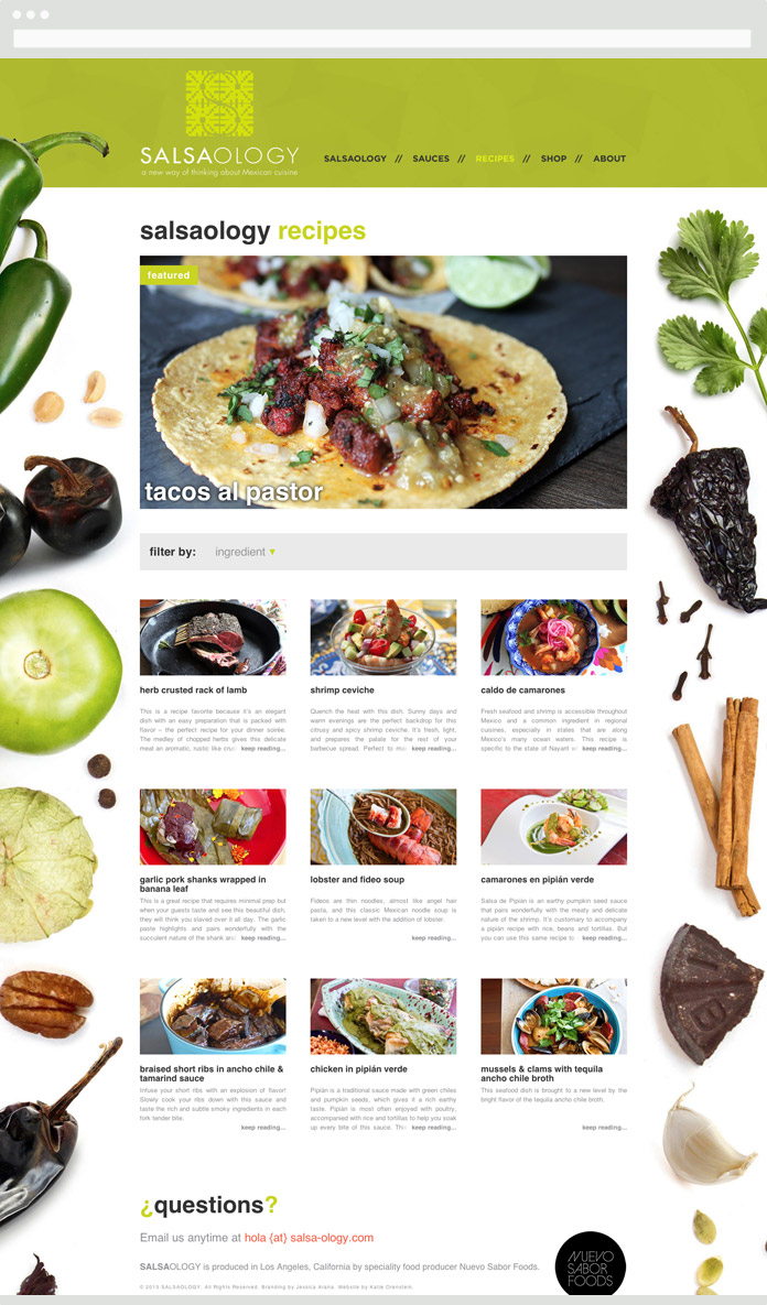 Image of the Salsaology Recipes Hub Page