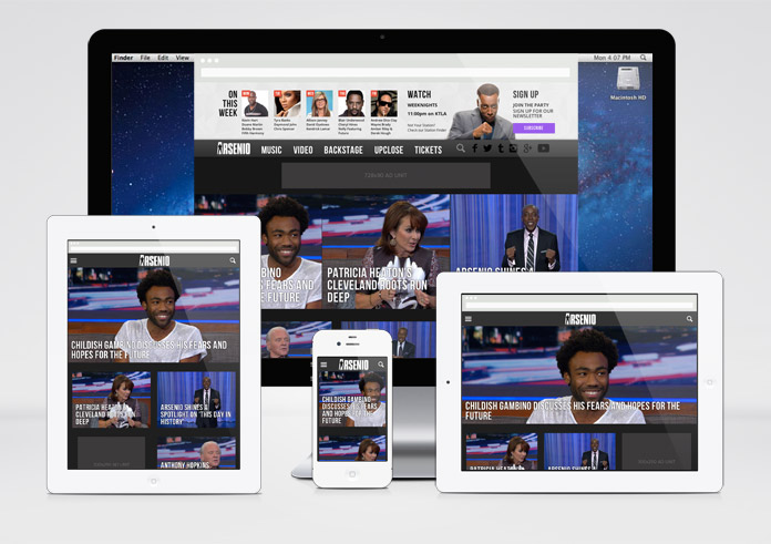 Image of the Arsenio Hall Homepage on Multiple Devices