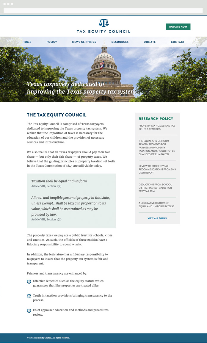 Image of the Tax Equity Council Homepage