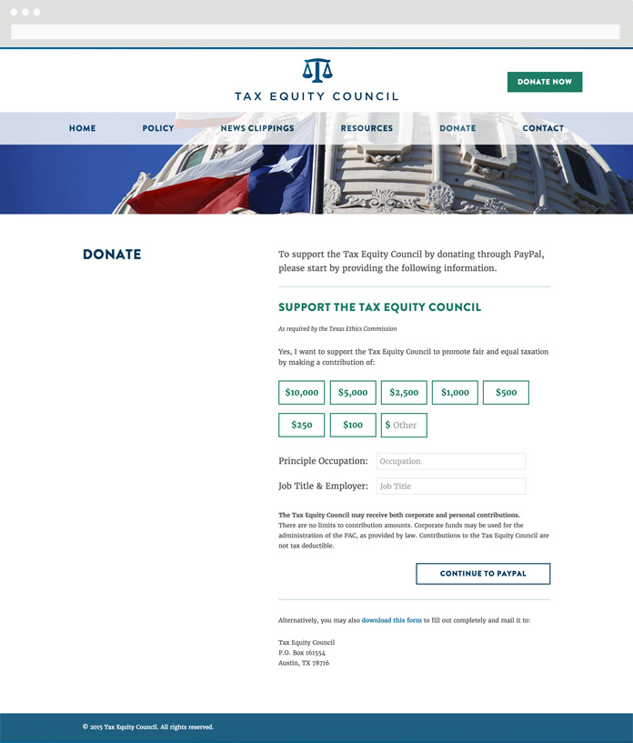 Image of the Tax Equity Council Donate Page